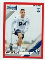 2019 Donruss #279 TAYLOR RAPP Los Angeles Rams RED PRESS PROOF SP ROOKIE CARD RC