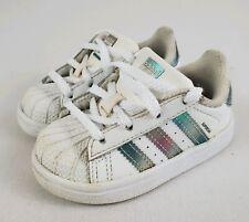 new arrival 2d647 4b605 Adidas Originals Superstar Tênis Sapatos Branco iridescente tamanho 5K Bebê