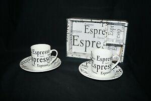 D'Lusso Espresso Set w Box 2 Cups & Saucers White Black Silver New Open Box