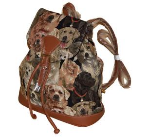 Rucksack Hunde Motiv Labrador Gobelin Tasche Damen Kinder
