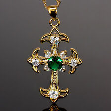 Xmas Lady Fashion Jewelry Big Cross Cut Green Emerald Gold Tone Pendant Necklace