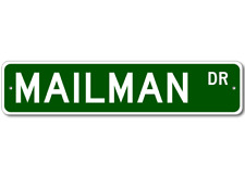 MAILMAN Street Sign - Personalized Last Name Signs