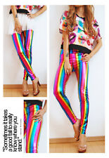 RAINBOW WOMENS SEXY FAUX LEATHER SHINY METALLIC STRETCH LEGGINGS WOMEN'S PANTS