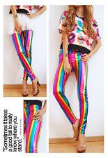 Rainbow Womens Faux Leather Shiny Metallic Stretch Leggings Women's Pants