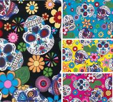 Cotton Poplin Candy Skulls Fabric Material - 312