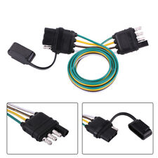 American Trailer Wiring Harness Plug 6V/12V/24V 4 Pin Flat Wire Connector Black