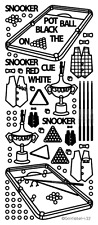 5 Sheets of SILVER SNOOKER PLAYER SPORT SPORTSMAN Peel Off Outline Stickers