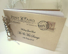 PERSONALISED VINTAGE POST CARD WEDDING/ENGAGEMENT GUEST /SCRAPBOOK / PHOTO BOOK
