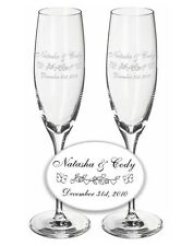 Wedding Champagne Toasting Flutes - 1 Pair - Custom with Butterflies & Hearts