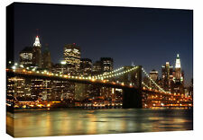 Grand New York Toile Photo Pont De Brooklyn Nuit A1