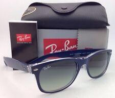 New RAY-BAN Sunglasses NEW WAYFARER RB 2132 6053/71 55-18 Blue-Clear Frame/ Grey