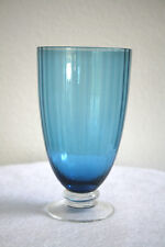 Vintage Set of 4 SIGNED Blue Ribbed Clear Footed Crystal Water Tumbler