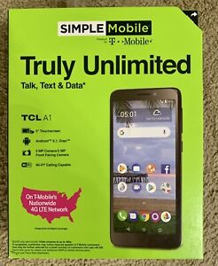 """Simple Mobile TCL A1 Prepaid Cell Phone 4G LTE 5"""" Touchscreen  Android 8.1 Oreo"""