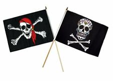 "12x18 12""x18"" Wholesale Combo Pirate Red Hat Bandana & Sugar Skull Stick Flag"