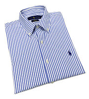 Polo Ralph Lauren Performance Slim Fit Long-Sleeve Woven Shirt in Blue Striped