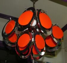 ANCIEN LUSTRE SUSPENSION POP ART SPOUTNIK ORANGE ET CHROME ANNÉES 70 dlg RAAK