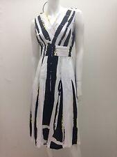 Vers Australia sz 8 Black White & Yellow Pure Cotton Dress AS NEW