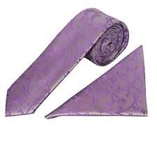 Cadbury Purple Floral Skinny Boys Tie and Handkerchief Set Childrens Wedding Tie