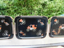 Set of 3 Vtg. MCM Metal TV Trays Buggy Stagecoach Carriage GVC  TT #7