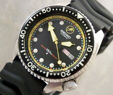 Seiko Ceramic 'Frogman' Black Yellow Automatic Day/Date Divers Watch Custom 6309