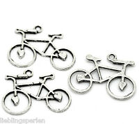 30 Antiksilber Fahrrad Perlen Beads Anhänger