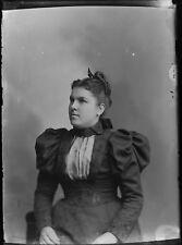 Antique 5x7 Glass Plate Negative Woman in Elegant Period Dress V69