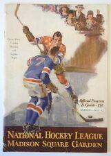1931-32 New York Rangers Vs Montreal Canadiens Hockey Playoff Program