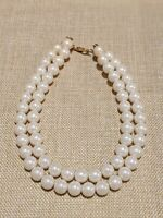 Gold Tone Faux Large Pearl Double Strand Choker Necklace