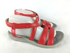Clarks Cloud Steppers Sillian Spade Strappy Red Sandals Shoes Women's Size 8.5 W