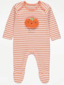 Baby First Halloween Sleepsuit Babygrow Pumpkin Orange Striped All in One Unisex