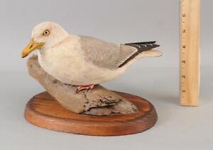 1980 C Bowman California Carved Painted Folk Art Seagull Wood Sculpture