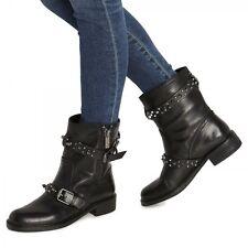 New Sam Edelman Black Studded Leather Biker Boots Size 6