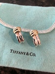 Tiffany & Co 18K Vintage 1995 Atlas Yellow Gold Earrings 9.931 Grams Omega Backs