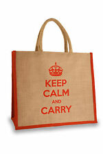 Keep Calm and Carry Large Jute Bag - FREE delivery!