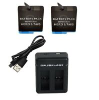 Battery Kit 1260mAh Batteries (x2) & Dual Battery Charger for GoPro Hero 8 Black