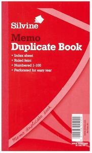 SILVINE MEMO DUPLICATE BOOK RULED FEINT 8 X 5 Inches Ref.601