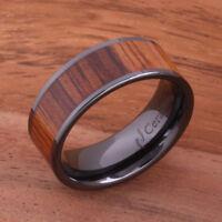 Black Ceramic Koa Wood Ring Wedding Ring Flat Shape Mens Ring 8mm TUR4007