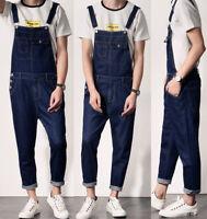 Mens Casual Blue Denim Dungarees Jeans Bib Overalls Suspenders Jumpsuits Pants