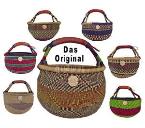 Orig. Afrika Bolga Korb Einkaufskorb Marktkorb Stabil Leder Produktnr.A11