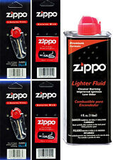 Zippo Lighters 4oz Fuel Fluid and 2 Cards Flint (12 Flints) & 2 Wick Value Pack