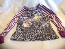 """Girls 4 Top LS """"Princess"""" Top With Animal Print And Purple Stripes"""