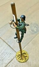 WW2 Vintage Swiss Army Elastolin Toy Soldier and Telegraph Pole