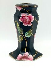 Antique Mourning Hatpin Holder Hand-painted Flowing Roses. Symbol of Admiration