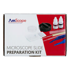 AMSCOPE Microscope Slide Preparation Kit with Microtome, Slides, Stains