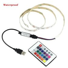 5V 5050 RGB 60SMD 1M LED Strip Lights Bar TV Back Lighting Kit+USB 24 Key Remote