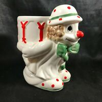 Vintage Ceramic WEISS Clown with Drum on Back Coin Bank
