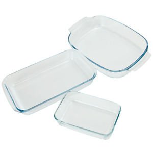 Set of 3 Glass Oven Cooking Dishes Rectangular Roasting & Baking Trays M&W