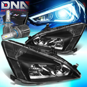 FOR 2003-2007 HONDA ACCORD COUPE/SEDAN HEADLIGHTS W/LED KIT+COOL FAN ASSEMBLY