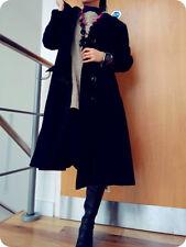 Metropolis Design Cashmere LongSwing Coat Wool Collar ButtonDown Pockets M Black