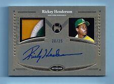 RICKEY HENDERSON 2017 TOPPS REVERENCE 3 COLOR GAME WORN PATCH AUTOGRAPH AUTO /25